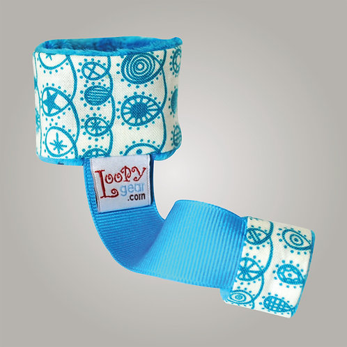 Baby Rattle Holder Turquoise Doodles Loopy