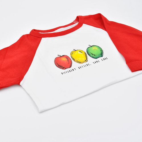 Different Outside, Same Core Apple Kids Red Baseball Shirt