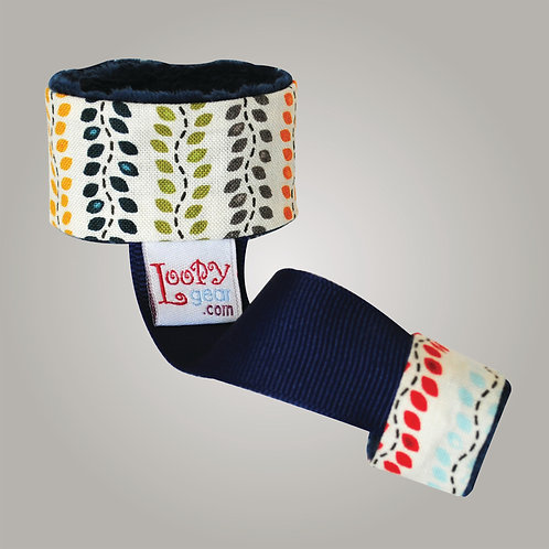 Baby Rattle Holder Navy Leaves Loopy
