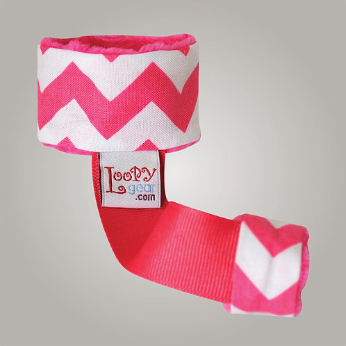 Baby Rattle Holder Pink Chevron Loopy