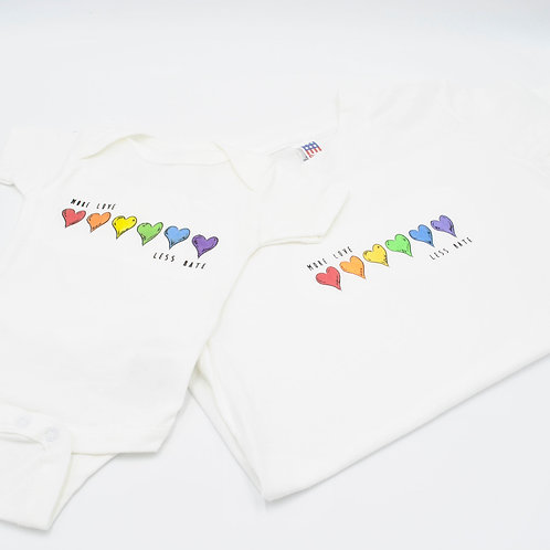 More Love Less Hate Onesie/T-Shirt
