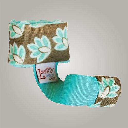 Baby Rattle Holder Falling Leaves Aqua Loopy