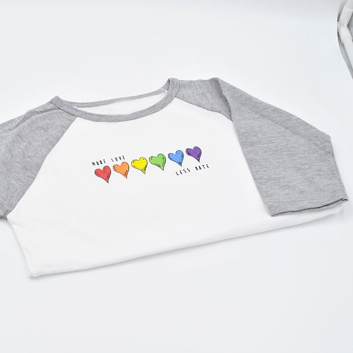 More Love Less Hate Hearts Kids Grey Baseball Shirt
