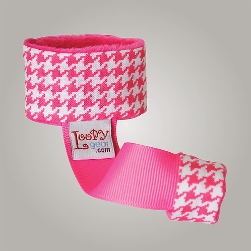 Baby Rattle Holder Pink Houndstooth Loopy