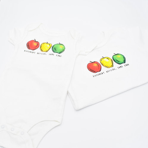 Different Outside, Same Core Apple Onesie/T-Shirt