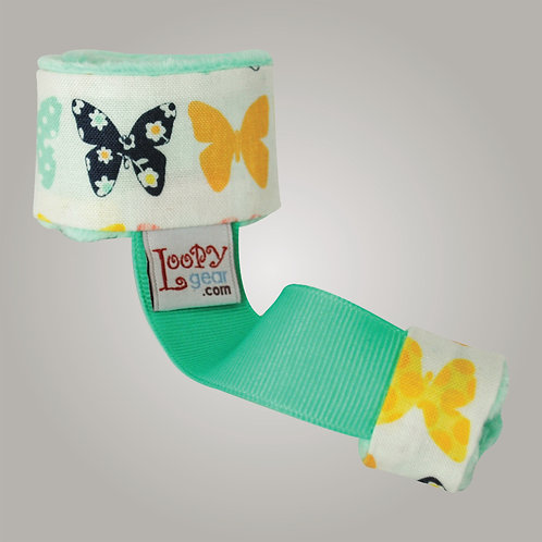 Baby Rattle Holder Minty Butterflies Loopy