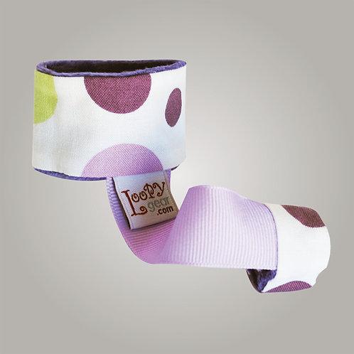 Baby Rattle Holder Purple Polka Loopy