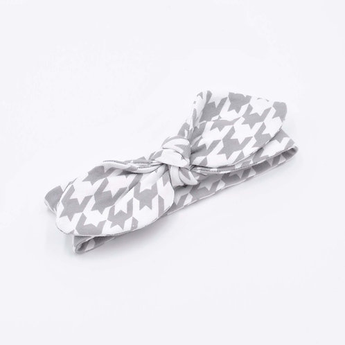 Grey Houndstooth Baby Headband