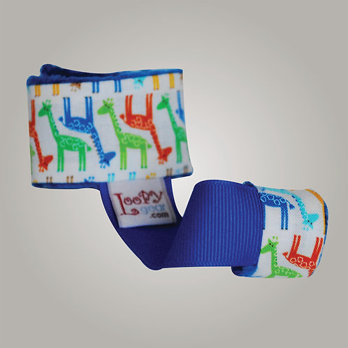 Baby Rattle Holder Parade of Giraffes Blue Loopy