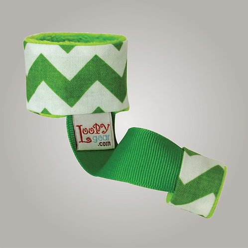 Baby Rattle Holder Green Chevron Loopy
