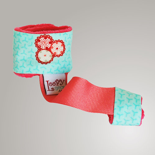Baby Rattle Holder Aqua Rose Loopy