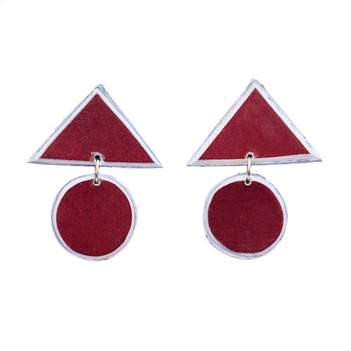 Triangle Circle Studs Burgundy