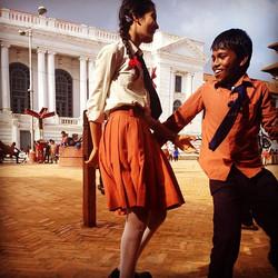 Kids playing tag in #DurbarSquare #kathmandu #nepal