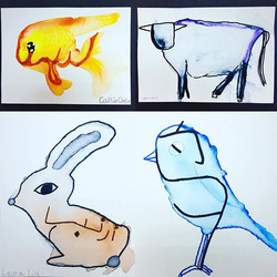 Picture Characters-- my grade 2 artists have been exploring the tradition of 'Picture Characters' in