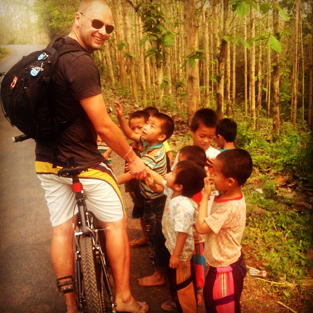 Mark making friends #onroute to the KuangSi water fall