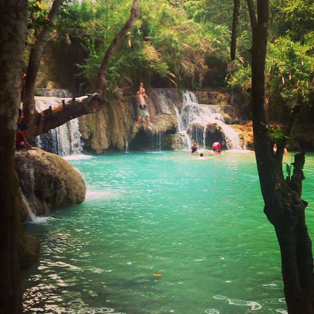 #SPLASH we made it! #kuangsi_waterfall #luangprabang #laos