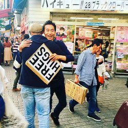 Free Hug! How could we pass that up_! _teachermonkey #tokyo #freehugs