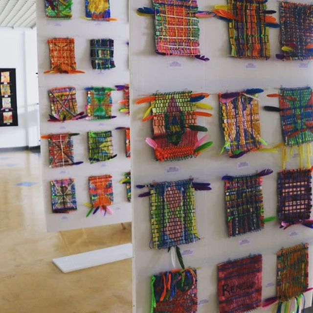 These beautiful weavings made out of reworked paintings, yarn and feathers are candy for the eye