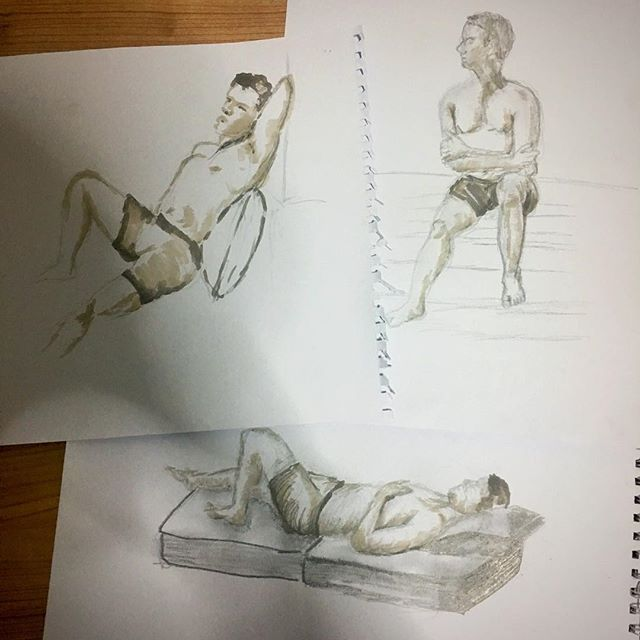My top three drawings from tonight's figure drawing session #ISZAF