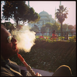Enjoying some shisha in front of the Blue Mosque after another amazing day in Turkey! #turkey #bluem