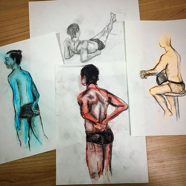 Here are my top four drawings from tonight's figure drawing session. I experimented with gestural wa