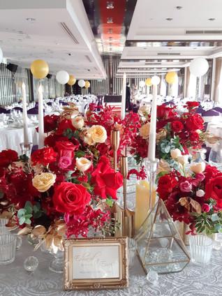 婚禮佈置|典雅紅金