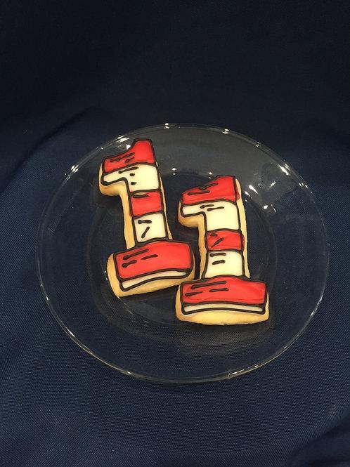 Decorated '1' Sugar Cookies