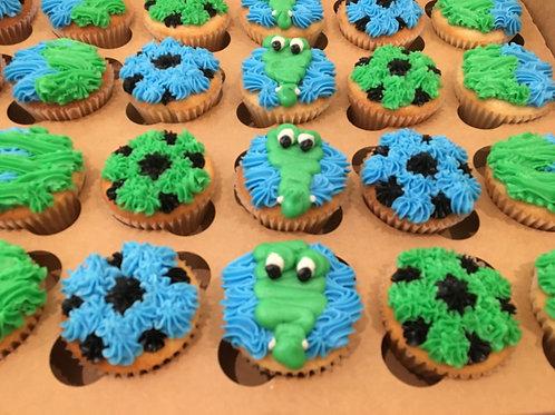 Alligator Soccer Cupcakes