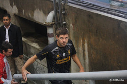 Stevie G comes out for training
