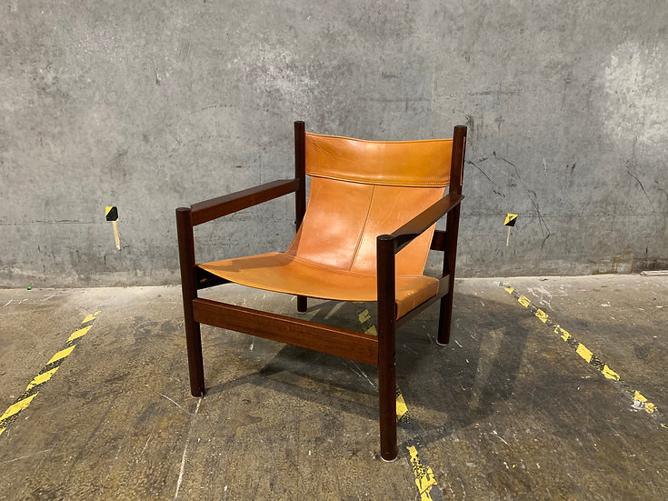 Michel Arnoult Roxinho Rosewood Leather Sling Chair