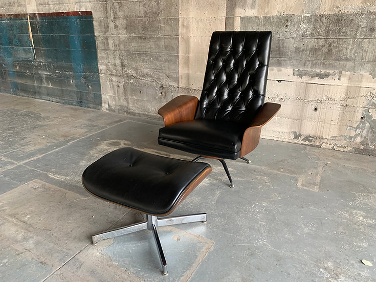 Murphy Miller Mid-Century Black Leather Lounge Chair & Ottoman