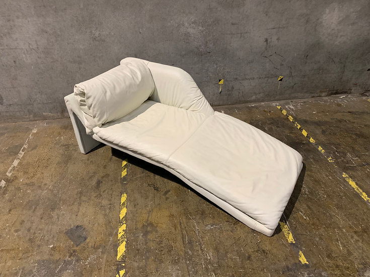 Leathercraft White Leather Chaise Lounge
