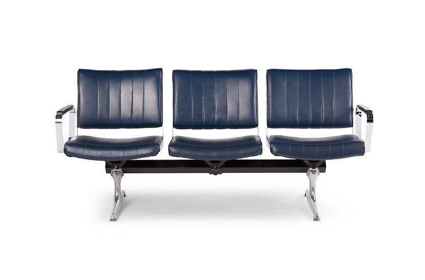 Chromcraft Navy Vinyl 3 Seat Airport Bench