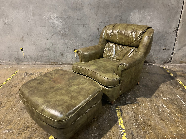 Schafer Brothers Vintage Tortoise Green Leather Club Chair & Ottoman