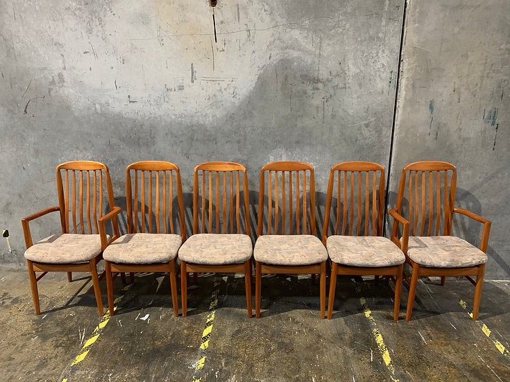 Benny Linden Danish Modern Dining Room Chair Set with Captains Chairs - BL10