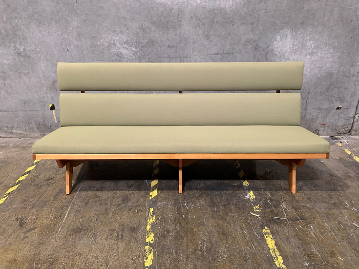 Solid Oak & Walnut Bench Sofa - Exposed Wood Frame