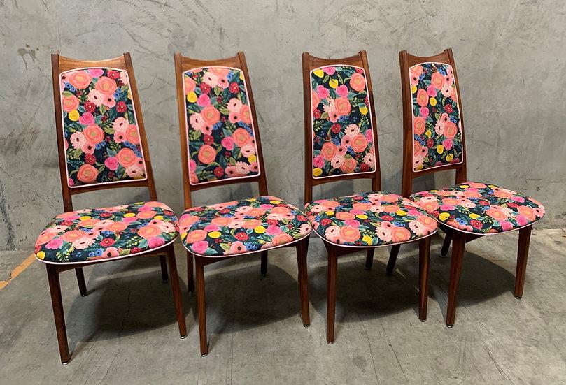 Moreddi Danish Mid-Century Modern Teak Dining Chairs - Rifle Paper Co. Fabric