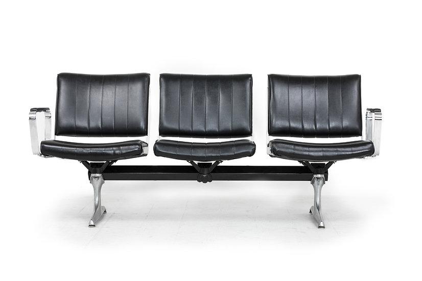 Chromcraft Black Vinyl 3 Seat Airport Bench