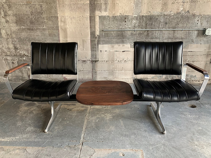 Langlitz Leather Studio Couch with Black Walnut Table