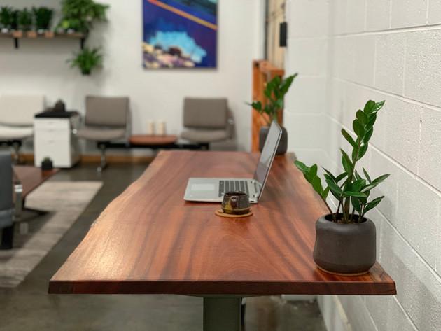 Sapele Live Edge Sit-Stand Desk