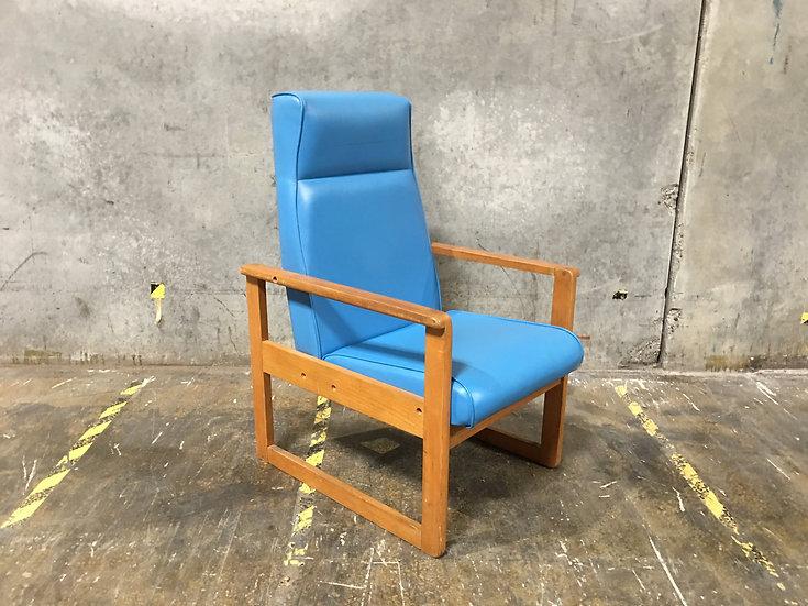 Carrom Solid Teak Mid Century Teal Vinyl Office Chair