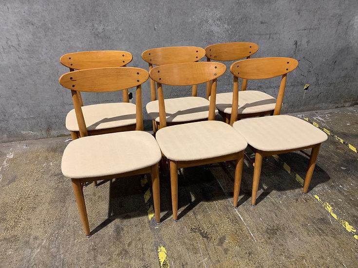 6 - BP John of Portland Walnut Dining Room Chairs - Mid Century Modern