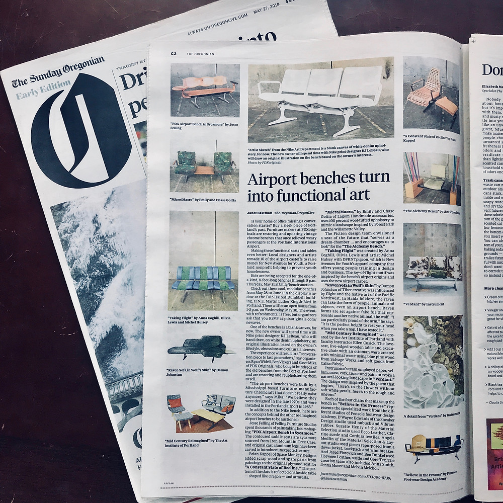 Oregonian article on PDXoriginals New Avenues for Youth Airport Bench Collaboration