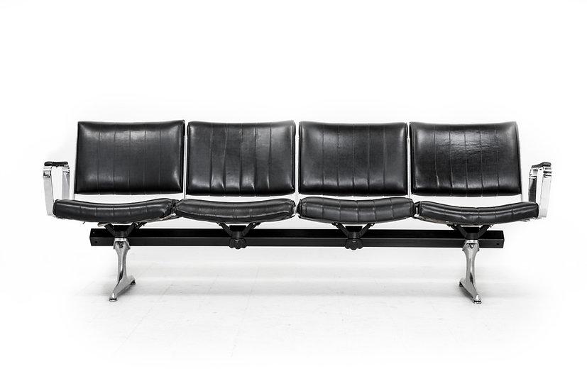 Chromcraft Black Vinyl 4 Seat Airport Bench