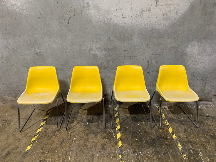 Yellow Mid Century Modern Shell Stacking Chairs