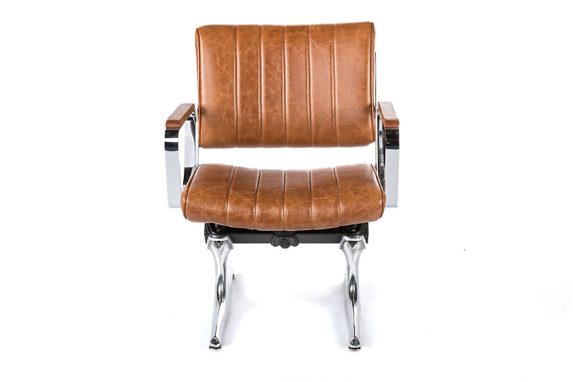 PDXoriginals Powell Leather Accent Chair - Brown Leather