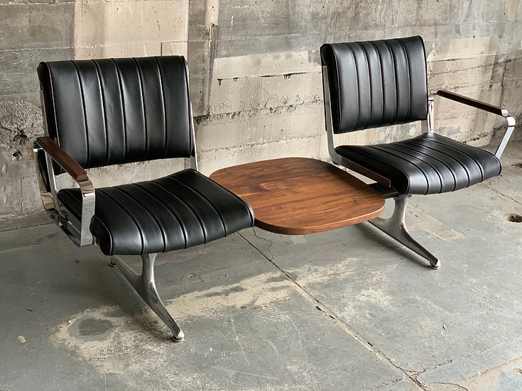 Black Grapevine Langlitz Leather Studio Couch with Black Walnut Table