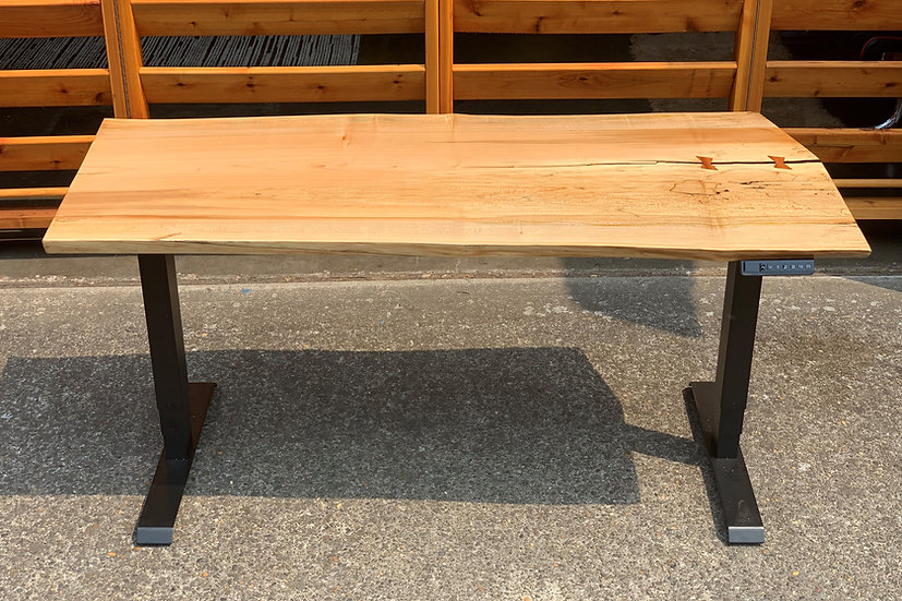 Big Leaf Maple Bowtie Sit-Stand Desk