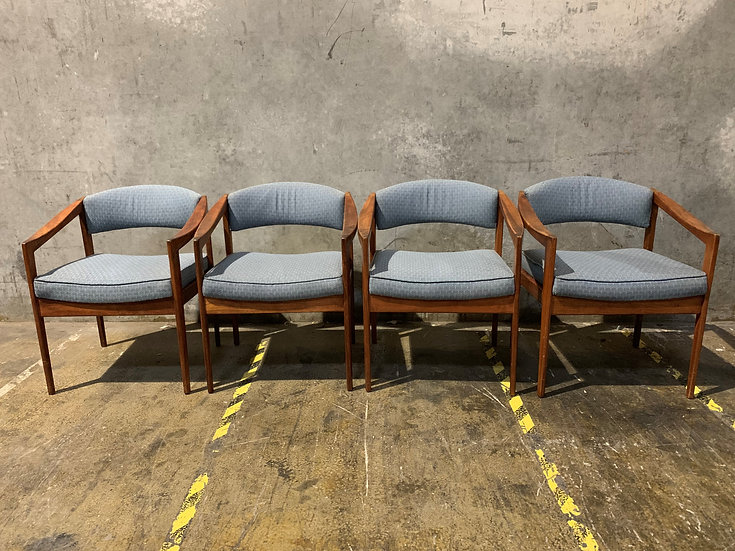 4 - Spring Solid Walnut Dining or Lobby Chairs - Mid Century Modern