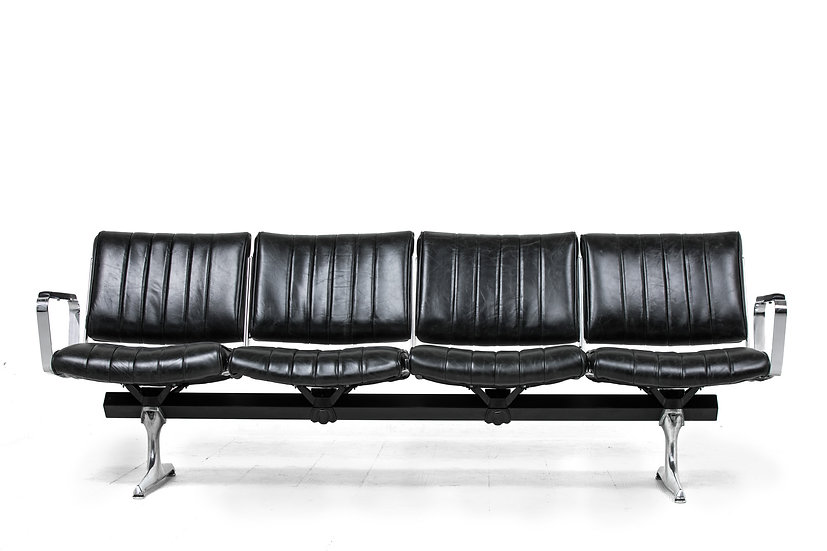 PDXoriginals Burnside Black Leather Studio Sofa Front